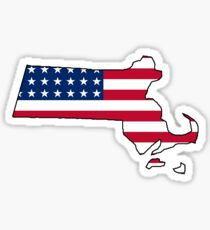 American flag Massachusetts outline Sticker