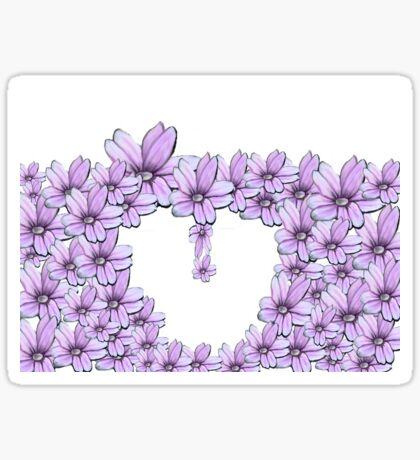 flower pink in heart Sticker