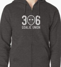 306 Goalie Union (White) Zipped Hoodie