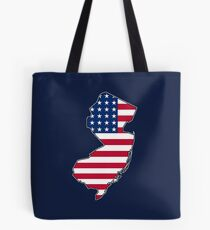 American flag New Jersey outline Tote Bag