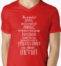 In a Land of Myth... Merlin (white) Men's V-Neck T-Shirt