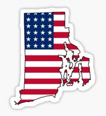American flag Rhode Island outline Sticker
