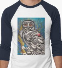 snowy owl with red star Baseball ¾ Sleeve T-Shirt