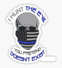 BLUE Line Skull Sticker