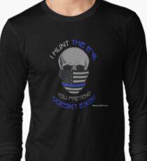 BLUE Line Skull Long Sleeve T-Shirt