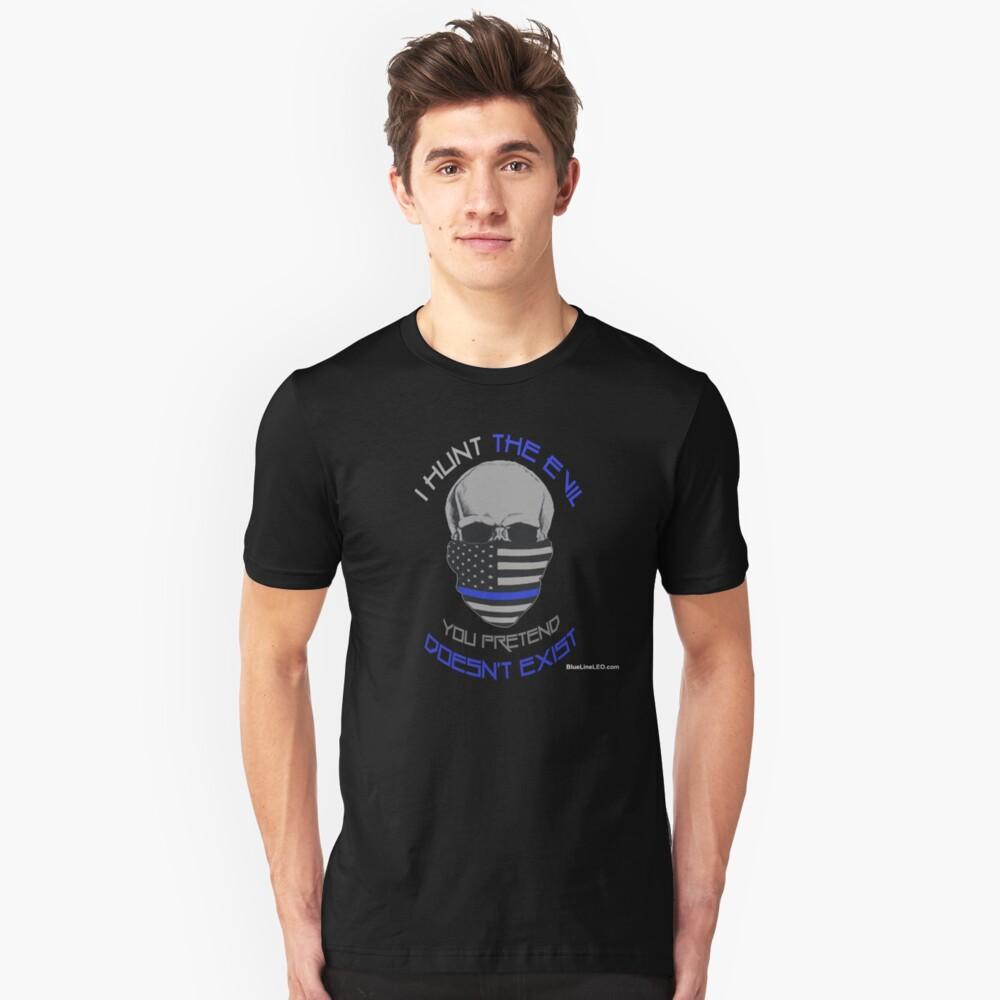 BLUE Line Skull Unisex T-Shirt Front