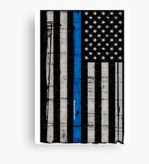 Police blue line Flag Canvas Print