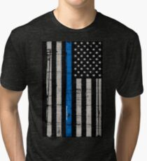 Police blue line Flag Tri-blend T-Shirt