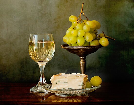 Gourmet snack, cheese grapes and white wine by Luisa Fumi