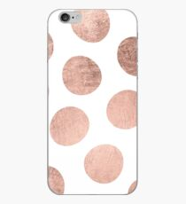 Modern faux rose gold hand drawn polka dots iPhone Case