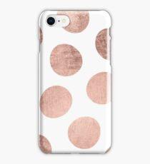 Modern faux rose gold hand drawn polka dots iPhone Case/Skin