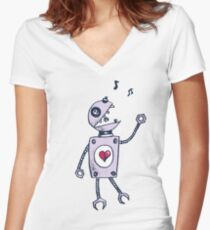 Happy Singing Robot Women's Fitted V-Neck T-Shirt