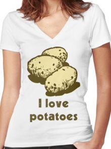 """I love potatoes"" Women's Fitted V-Neck T-Shirt"
