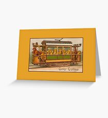 Easter greetings, cute easter chicks in tram Greeting Card
