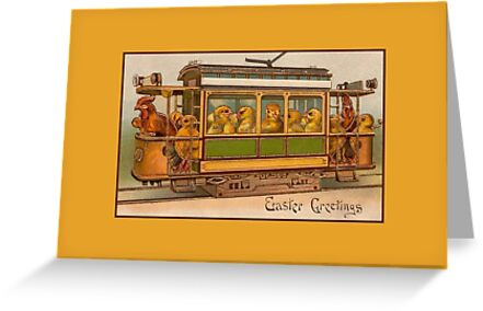 Easter greetings, cute easter chicks in tram by aapshop