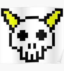 8 Bit Horned Skull Poster