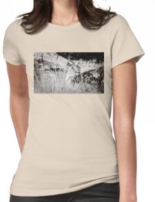 black and white portrait of an innocent doe Womens Fitted T-Shirt
