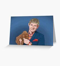 Martin Freeman with Puppy Greeting Card