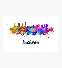 Incheon skyline in watercolor Photographic Print