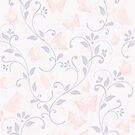 floral pattern in doodle style with butterflies by Nataliia-Ku