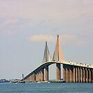 Sunshine Skyway Bridge over Tampa Bay FL by June Holbrook