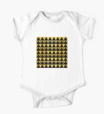Gold glitter black triangles warm color One Piece - Short Sleeve