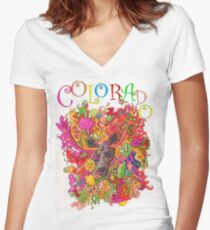 Psychedelic Colorado Moose Women's Fitted V-Neck T-Shirt
