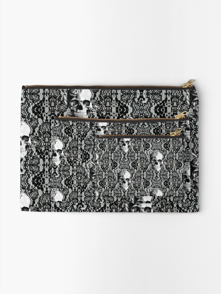Alternate view of Gothic Lace skull Zipper Pouch