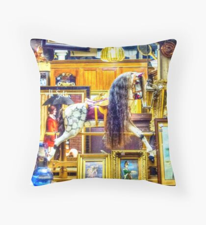 Antiques shop window Throw Pillow