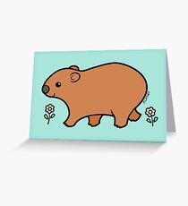 Walking Wombat with White Flowers Greeting Card