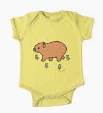 Walking Wombat with White Flowers One Piece - Short Sleeve