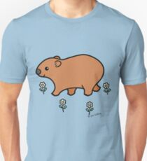 Walking Wombat with White Flowers Unisex T-Shirt