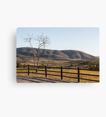 Fence Tree Mountain Canvas Print