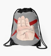 Three Finger Salute Drawstring Bag