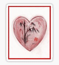 Sacred Love - Colored Pencil Heart Drawing Sticker