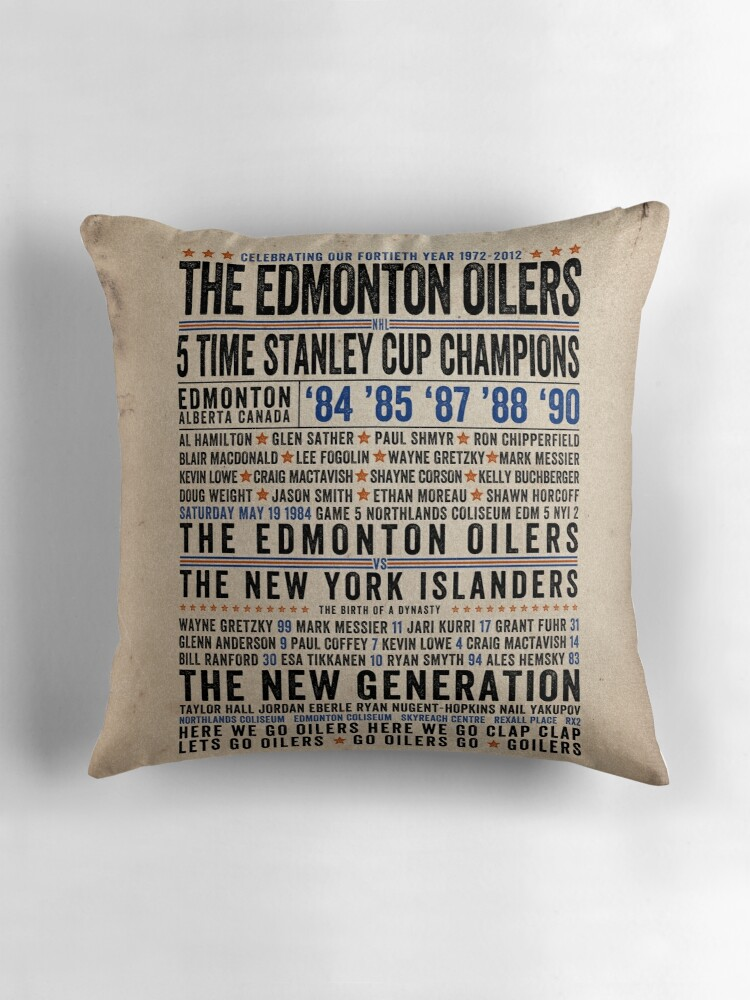 "The Edmonton Oilers Dynasty Poster"" Throw Pillows by Oilerland"