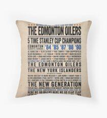 The Edmonton Oilers Dynasty Poster Throw Pillow