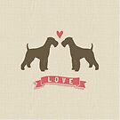 Airedale Terriers in Love by Jenn Inashvili