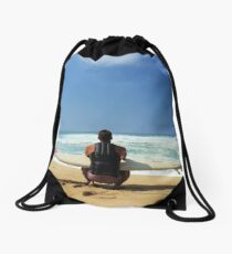 Watching the Waves Drawstring Bag