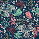 colorful floral pattern in doodle style by Nataliia-Ku