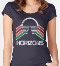 Vintage Horizons Distressed Logo in Vintage Retro Style Women's Fitted Scoop T-Shirt
