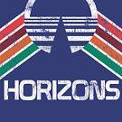 Weinlese-Horizonte beunruhigtes Logo in der Weinlese-Retro Art von retrocot
