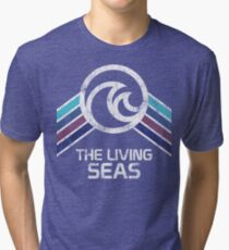 The Living Seas Distressed Logo in Vintage Retr Style Tri-blend T-Shirt