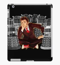 Time traveller captured by mini droid robot iPad Case/Skin