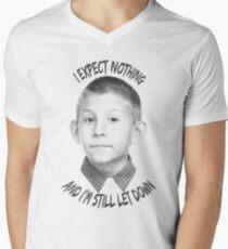 Camiseta para hombre de cuello en v No espero nada
