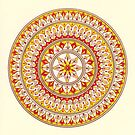 Hand Draw Vibrant Yellow And Red Mandala by Zedart