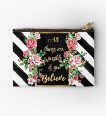 "Modern golden inspirational  quote, ""all things are possible if you believe"" Studio Pouch"
