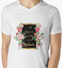 "Modern golden inspirational  quote, ""all things are possible if you believe"" Mens V-Neck T-Shirt"