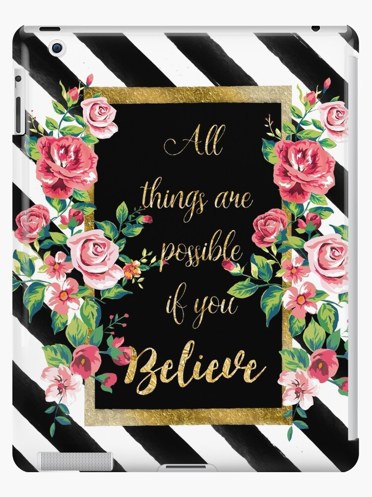 "Modern golden inspirational  quote, ""all things are possible if you believe"" by InovArtS"
