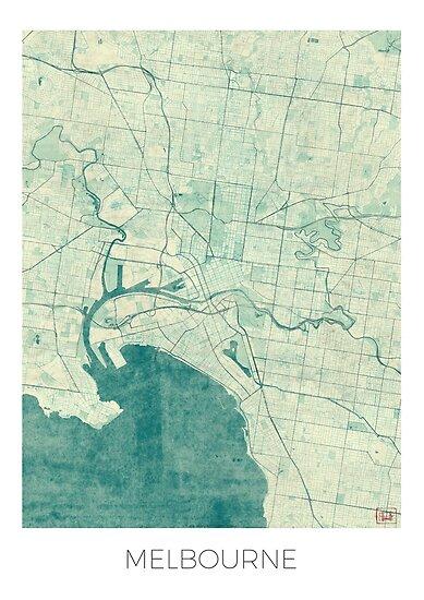 Melbourne Australia City Map.Melbourne Map Blue Vintage Posters By Hubertroguski Redbubble